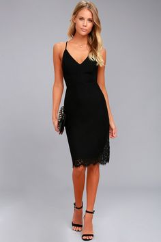 Only Want You Black Lace Bodycon Midi Dress 2