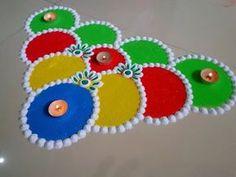 Diwali special multicolored rangoli design   Easy and innovative rangoli designs by Poonam Borkar - YouTube