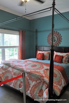 Aqua and Coral bedroom | peach turquoise bedroom absoloutly adore ...