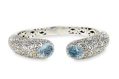 "Carved Blue Topaz Bangle Set in Sterling Silver & 18K Gold Accents ""Ol 