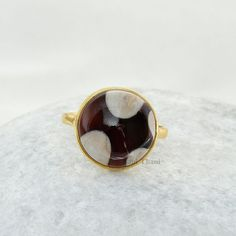 Peanut Wood Jasper Beautiful Round Faceted 10x10mm Micron Gold Plated 925 Sterling Silver Bezel Ring.