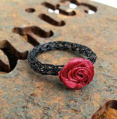 """Schwarzer Viking Knit - Ring """"Rose"""""""