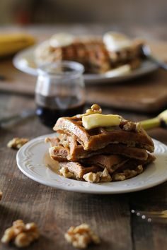 Banana Walnut Waffles with Cinnamon Bourbon Syrup (gluten-free and naturally sweetened) | The Roasted Root