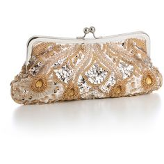 vintage beaded clutch (champagne) ($52) ❤ liked on Polyvore
