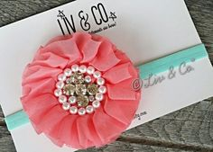 Aqua Mint and Coral Headband for Babies Toddlers by LivAndCompany