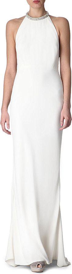 Alexander Mcqueen Embellished Halterneck Gown in White (ivory) | Lyst