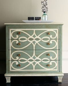 paint a pattern on an old dresser