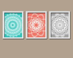 Turquoise Coral Gray Wall Art CANVAS or Prints Flower Radial Sun Burst Doilies Tribal Set of 3 Wall Bedroom Bathroom