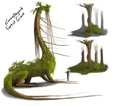 Camouflaged Forest Giant by Khaidu on DeviantArtSo here's some things about this forest giant: - its body imitates the look of foliage but it's body is also covered with real foliage that has grown over the giant due to its long idle periods (years) - it uses its vine like tentacles to suck sap from the tree, as it is idle it requires less energy so does not feed as much, this in turn also gives the imitation of a creeper vine that takes many years to kill a tree. - at the death of a tree…