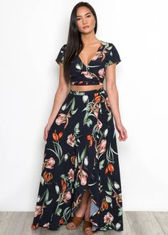 Pair this floral wrap crop top with the matching maxi skirt for a fabulous spring look! Shop more tops and blouses from Primp Boutique.