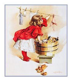Young Girl Washing her Dolls Clothes by Maud Humphrey Bogart Counted Cross Stitch or Counted Needlepoint Pattern