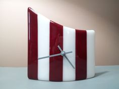 Modern Dark Red and White Striped Fused Glass by SeaLambGlass, $49.99