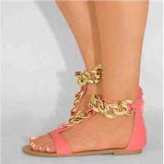 ファッションゴージャスなピンクのPU金属チェーンフラットサンダル