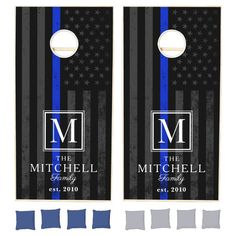 Police Themed Patriotic Flag | Monogram Cornhole Set - tap/click to get yours right now! #CornholeSet #police, #cop, #monogram, #police #family, Cornhole Set, Cornhole Boards, Cornhole Tournament, Police Flag, Police Officer, Police Party, Blue Line Police, Gifts For Sports Fans, Police Gifts