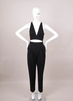 Black High Waisted Wool Pants and Bralette Set