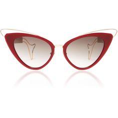 Whale Cat Eye Sunglasses | Moda Operandi ($695) ❤ liked on Polyvore featuring accessories, eyewear, sunglasses, cat-eye glasses, cat eye sunglasses, cat eye sunnies, acetate sunglasses and acetate glasses