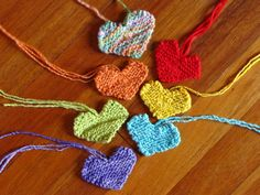 Knitted Valentine Hearts on Natural Suburbia