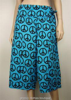 FESTIVAL -  3/4 Peace Hippie Resort  Cotton Pants Sz 12 - 18 Au