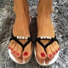 Black Jeweled Beach Sandals Summer Flat Flip Flops US Size - Beach Mode Rothys Shoes, Flat Shoes, Custom Boots, Black Jewel, Beautiful Toes, Summer Flats, Beach Flip Flops, Flip Flop Shoes, Sexy Toes