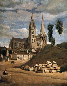 Jean-Baptiste-Camille #Corot, La #Catedral de #Chartres.