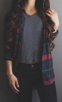 #fall #fashion / tartan shirt + stripes