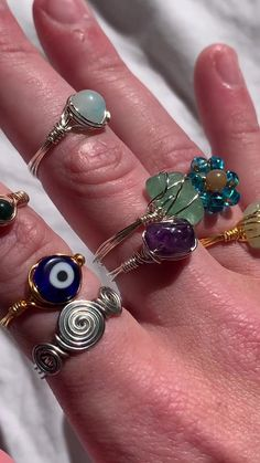 Wire Jewelry Rings, Wire Jewelry Designs, Handmade Wire Jewelry, Funky Jewelry, Hippie Jewelry, Cute Jewelry, Crystal Jewelry, Beaded Jewelry, Jewelery