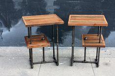 Industrial Wood & Steel Side Tables // Reclaimed Wood Nightstands // Factory Style Furniture