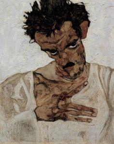 Egon Schiele  Self-Portrait Aşağı Başkanı ile 1912