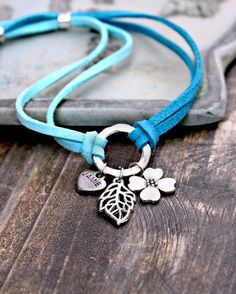Hoop & Flower Charms Bracelet- Everyday Style, Blue and Silver Suede Bracelet. $24.95, via Etsy.