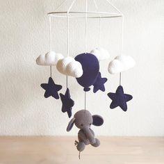 Elefanten Elo i en fin drengefarve💙 – Toys Crochet Baby Mobiles, Crochet Mobile, Crochet Baby Toys, Crochet Bebe, Crochet For Kids, Baby Blanket Crochet, Baby Deco, Baby Barn, Cute Baby Gifts