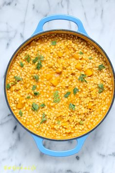 Pumpkin barley risotto made healthier than regular versions. This one is got tons of flavor with hardly any calories added!