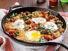 This breakfast-for-dinner skillet gets heat from spicy Mexican chorizo. Don't stir the potatoes too much as they cook so they crisp in the pan. If you like your eggs more firm, cook them longer, or stir them in for a scramble. View Recipe: Mexican Chorizo Hash