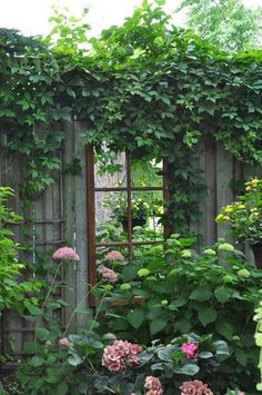A fence window creates the idea of a secret garden