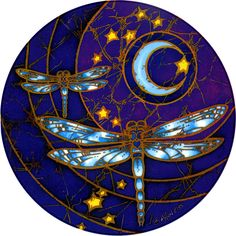 "Dragonfly Moon Window Sticker - Bring your windows to life with these luminous window stickers.High quality, permanent-stick artwork in beautiful translucent colors. For indoor or outdoor use. For any window, glass door or smooth flat surface. 4.5"" Diameter."