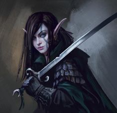 female drow / elf warrior / fighter with damaged sword padded armour edgy character inspiration for Pathfinder / DnD / Warhammer Fantasy / tabletop gaming Fantasy Races, Fantasy Warrior, Fantasy Girl, Dark Warrior, Elf Characters, Fantasy Characters, Fantasy Inspiration, Character Inspiration, Character Portraits