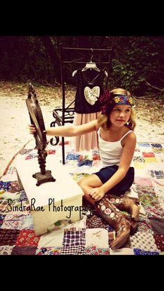 10 yr old girl fashion shoot. Country girl.