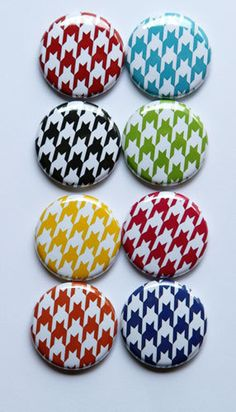 Bright Houndstooth Flair by aflairforbuttons on Etsy, $6.00
