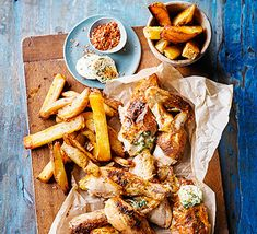 Quick roast chicken & homemade oven chips with kiev butter recipe Bbc Good Food Recipes, Dinner Recipes, Cooking Recipes, Healthy Recipes, Savoury Recipes, Healthy Dinners, Meat Recipes, Roast Chicken And Chips, Recipes