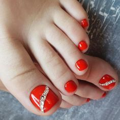 Ideas For Red Pedicure Designs Toenails Nailart Pedicure Colors, Pedicure Designs, Pedicure Nail Art, Manicure E Pedicure, Toe Nail Designs, Pretty Pedicures, Pretty Toe Nails, Cute Toe Nails, Pretty Toes