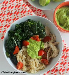 Kale Chicken Burrito Bowl |Only 237 Calories | Fiber & Protein Very Satisfying Healthy Bowl |For MORE RECIPES, Nutrition & Fitness Tips please SIGN UP for our FREE NEWSLETTER NutritionTwins.com