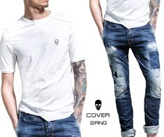 Detailed denim and white T-shirt with asymmetric design