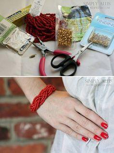 diy bracelets inexpensive beads | DIY — bracelet made from braided beads