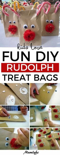 Kids love these fun DIY Rudolph treat bags is part of Kids Crafts Food Christmas Gifts Kids love these fun DIY Rudolph treat bags Rudolf Christmas Christmascrafts DIYChristmas kids - Kids Christmas Treats, Christmas Party Table, School Christmas Party, Christmas Activities For Kids, Christmas Gift Bags, Preschool Christmas, Christmas Gifts For Friends, Christmas Fun, Christmas Gift Craft Ideas