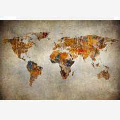 Retro World Map Art Canvas Print Wall Painting Picture Unframed Mural Home Decor World Map Wallpaper, Fabric Wallpaper, Canvas Frame, Canvas Art, Canvas Prints, Art Prints, Art Encadrée, Framed Art, Wall Art