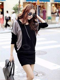 Morden Style Splicing Design Batwing Sleeve Cotton Blend Knitting Dress For Women (BLACK,M) China Wholesale - Sammydress.com