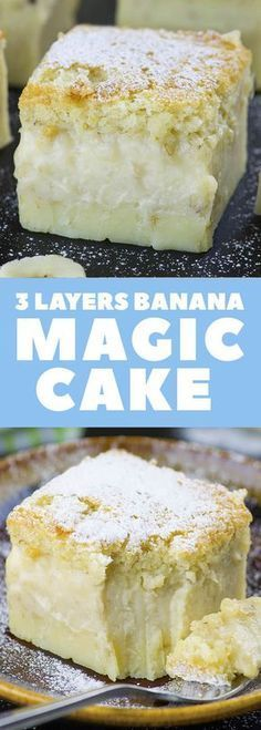 If you are looking for a QUICK and EASY CAKE RECIPE with just few simple ingredients, this easy Banana Magic Cake is perfect sweet treat. However, this easy Banana Cake is not called 'MAGIC' for noth Easy Cake Recipes, Easy Desserts, Sweet Recipes, Easy Banana Cake Recipe, Easy Sweets, Quick Simple Desserts, 8x8 Cake Recipe, Simple Dessert Recipes, Magic Cake Recipes