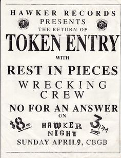 Token Entry, Rest in Pieces, Wrecking Crew, No for an Answer punk hardcore flyer