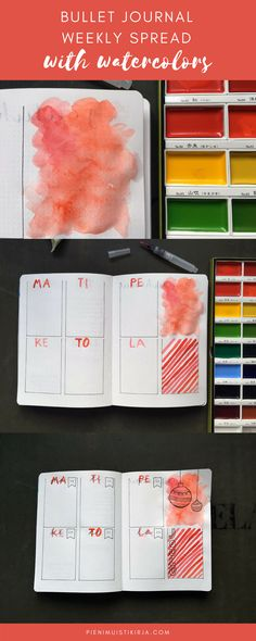 Bullet journal weekly spread with watercolors #bulletjournal #weeklyspread