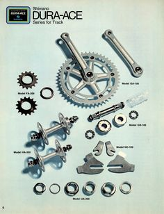 The Shimano Dura Ace Series for track, from the early Road Bikes, Cycling Bikes, Track Cycling, Cycling Equipment, Vintage Cycles, Vintage Bikes, Bmx, Old Bicycle, Track Bicycle