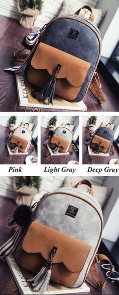 2ab331e39ae2 Leisure Tassel Splicing School Backpack Contrast Color Frosted Girl s  Backpack only  32.99